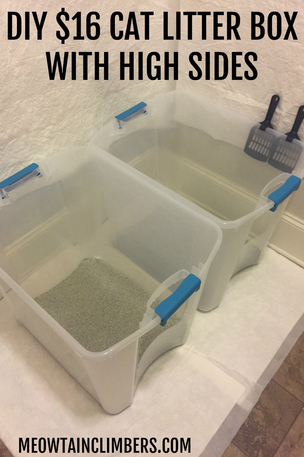 Two rubbermaid containers used as cat litter boxes in a laundry room