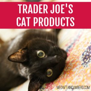 black cat laying on a multicolored rug with text that reads Trader Joe's Cat Products - square image