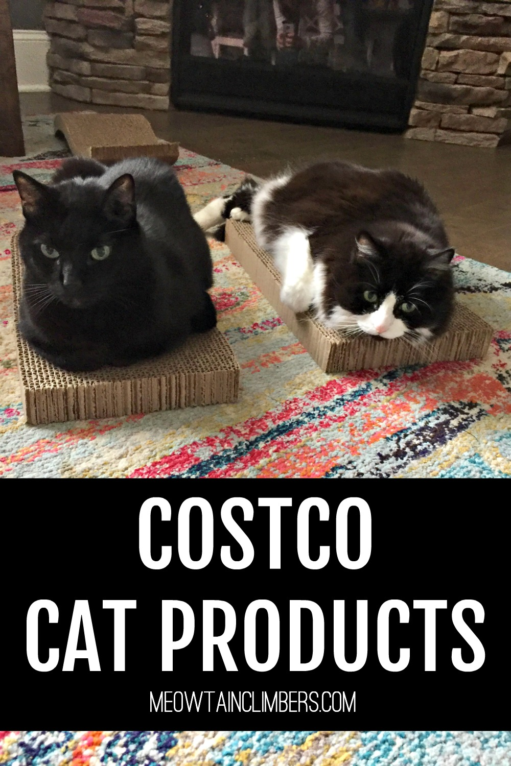 two cats laying on scratchers with text that reads Costco Cat Products