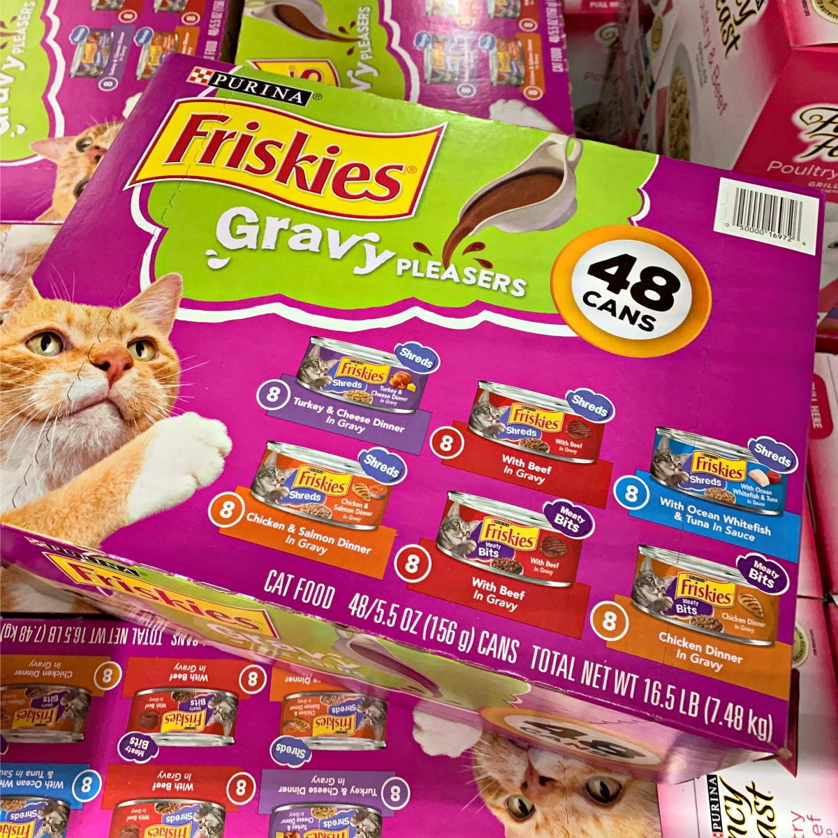 box (48 cans) of Purina Friskies Gravy Pleasers wet cat food from Sam's Club