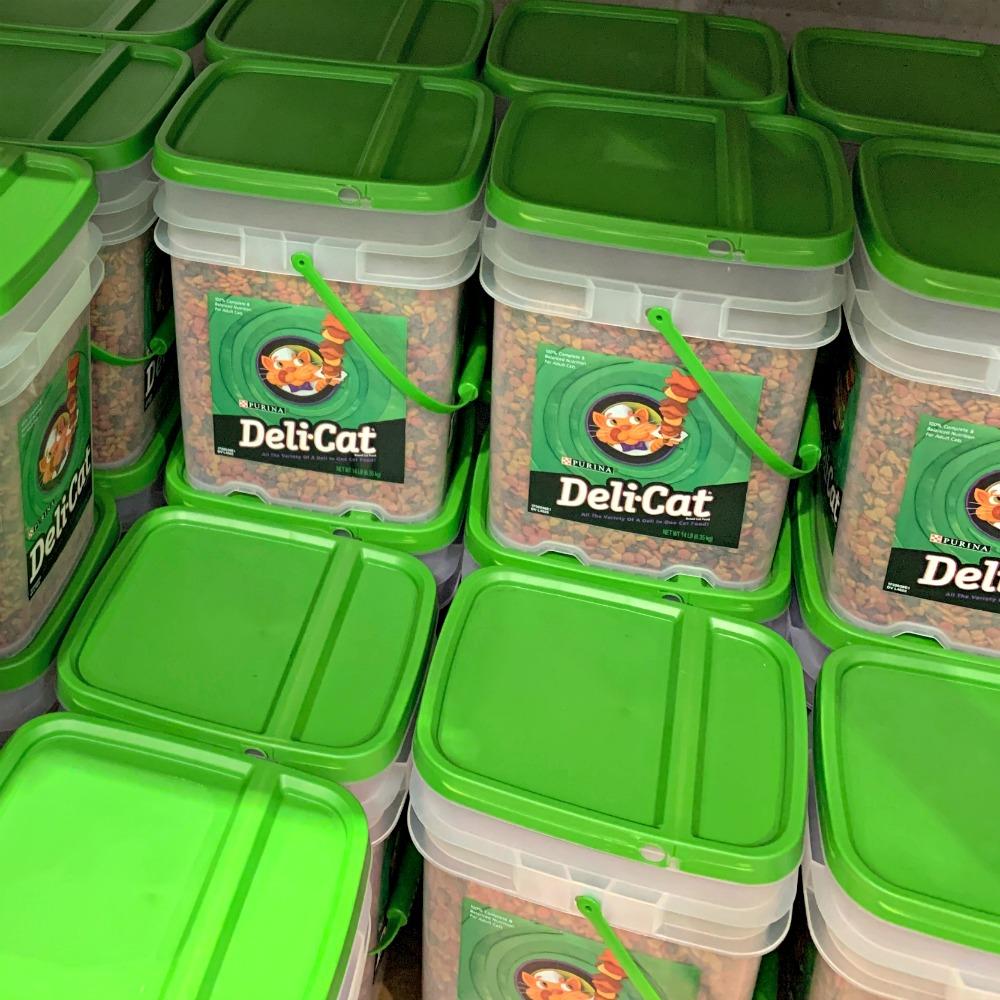 pails of Purina Deli Cat food at Costco
