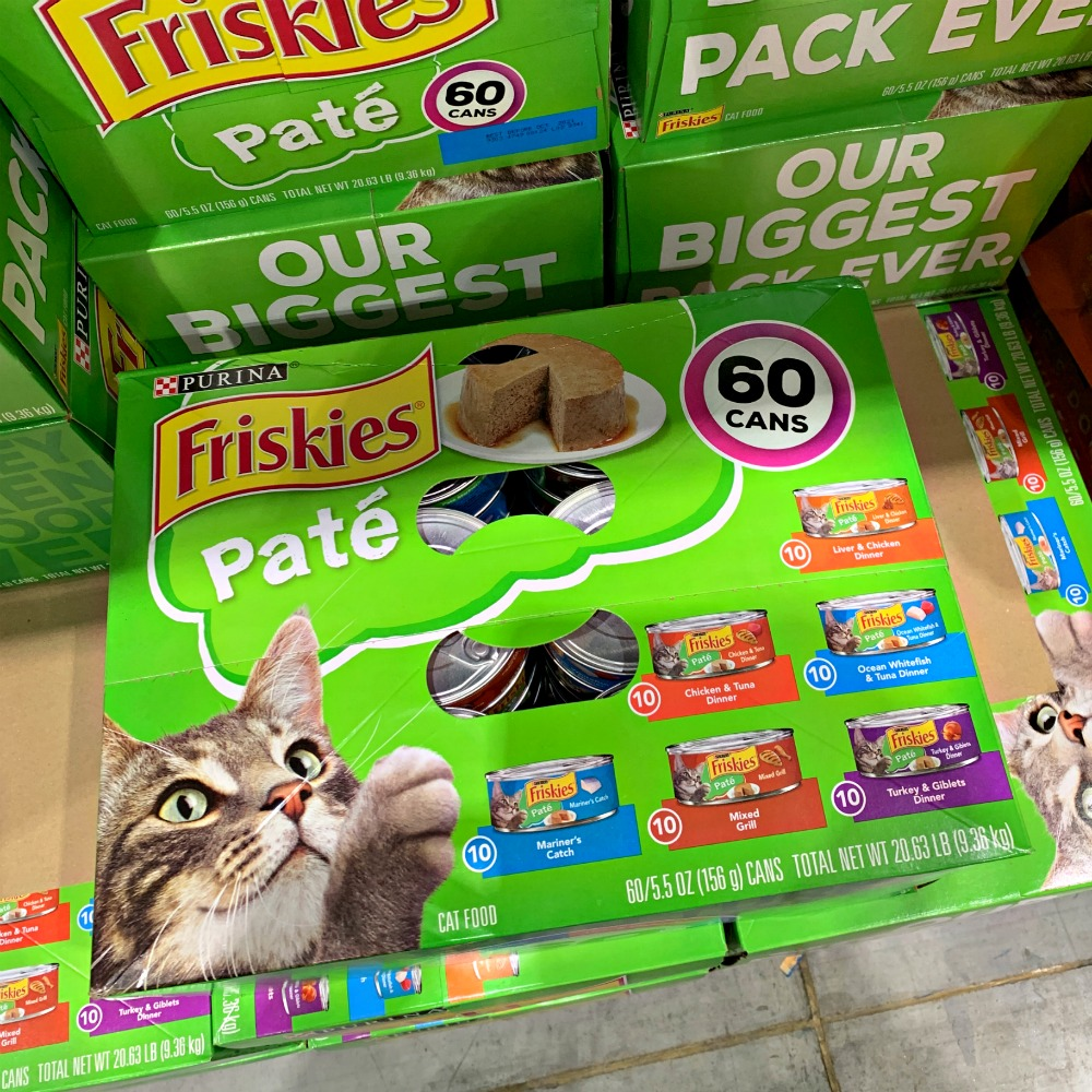 60 can pack of Friskies pate wet cat food at Costco