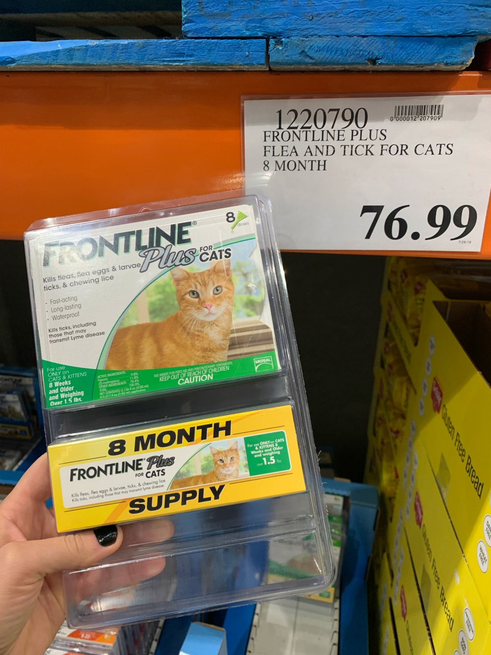 Frontline Plus for Cats packaging at Costco