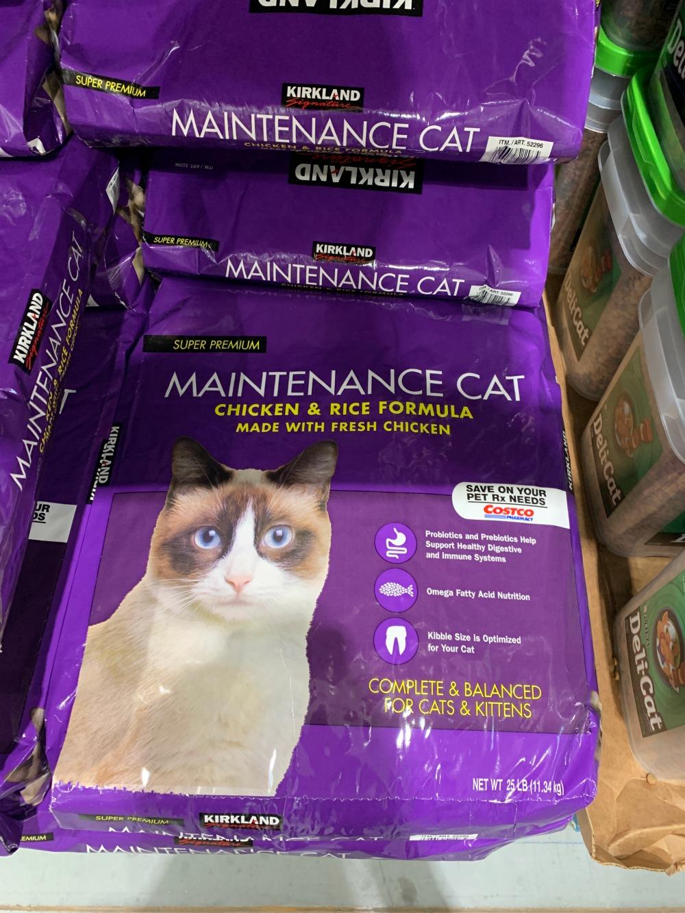 purple bag of Kirkland Signature Maintenance Cat food at Costco